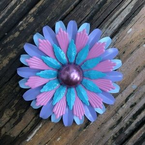 Vtg Purple Pink Aqua Blue Enamel Flower Brooch Pin